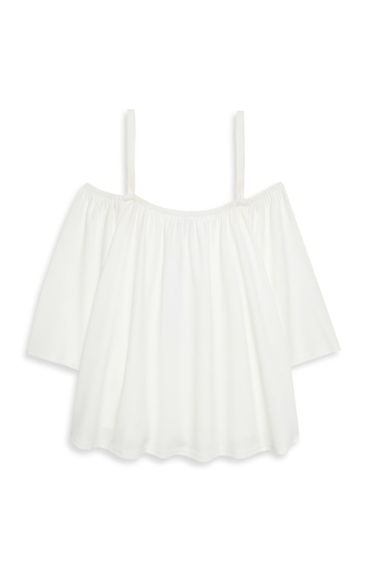 Primark - White Strappy Fluted Bardot Top