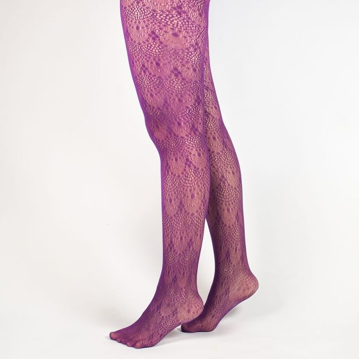 Collant grande taille violet maille fantaisie
