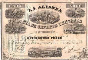 La Alianza Compania de Credito y Segoros Accion 500 Pesos 2.1.1862.