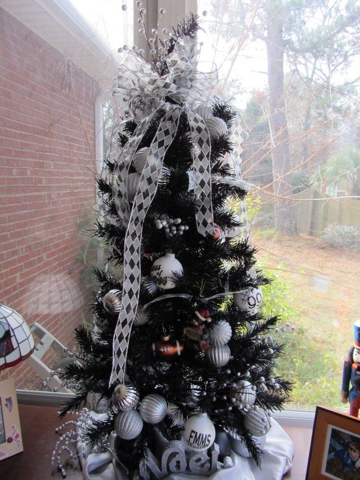 Our boys school colors are black & silver. We found a black Christmas tree,