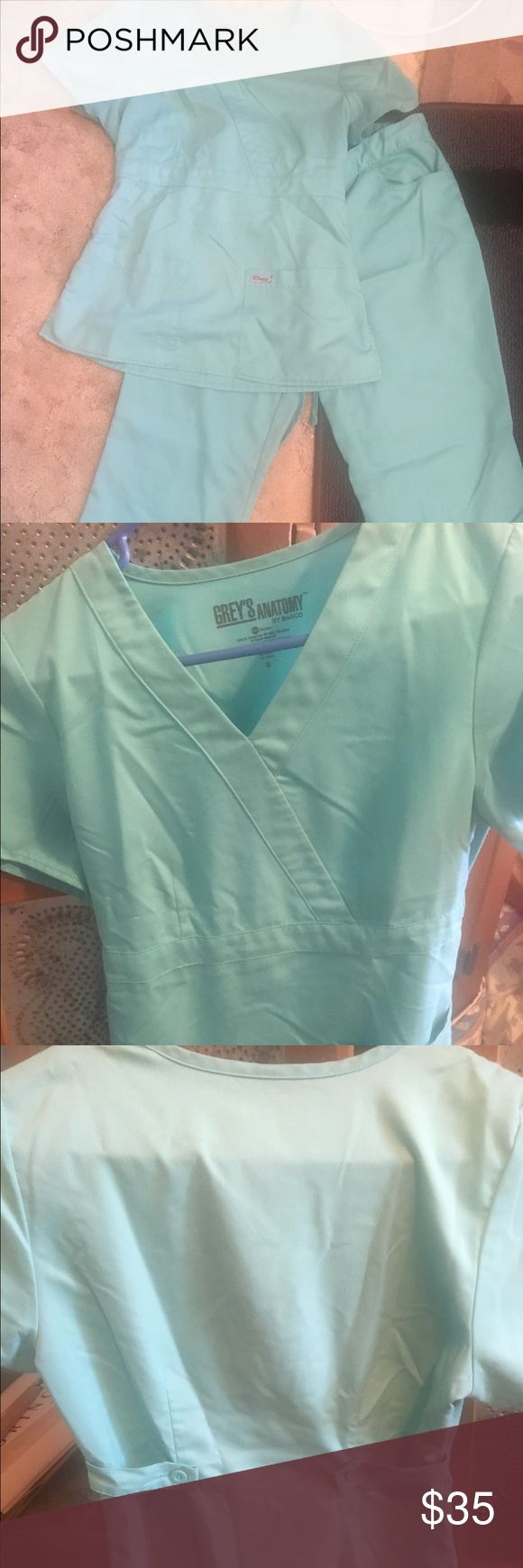 Grey's Anatomy Scrubs Set of small Grey's anatomy scrubs in great shape! The second picture shows the closest to color. Kind of a light blue-green mixture. Sorry was hard to get a picture that showed color best. Super comfortable scrubs Other