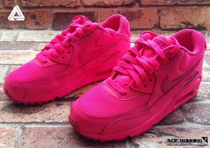 2014 New Nike Air Max 90 Womens Shoes All Pink Red