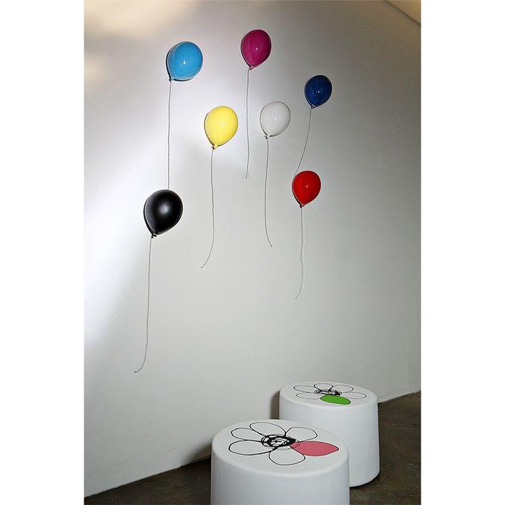Palloncino decorativo in ceramica si fissa a muro ed è orientabile 18x24cm colore ROSSO
