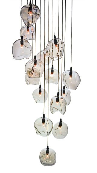 """Infinity Cluster"" pendant light fixture by John Pomp Studios has 15 hand-blown sculpted glass canopies at different heights. Needs high sealing, corridor or staircase."