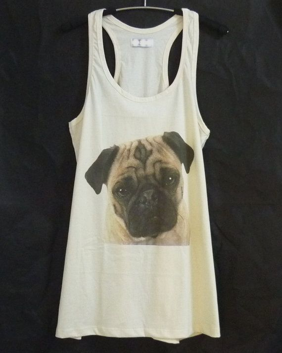 Pug dog tank top dress/ off white shirt/ a line/ by WorkoutShirts