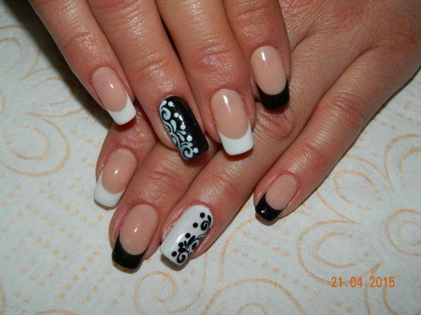 Beautiful nails 2016, Black and white French manicure, Contrast nails, Drawings on nails, Long nails, Office nails, Pattern nails, Shellac nails 2016