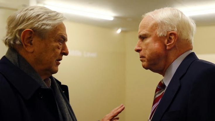 """What is McCain doing meeting with 'Spooky Dude' Soros? --------------------------------------------------- The burning question that arises from the McCain-Soros summit is what on earth is McCain doing meeting with a man who has openly condemned the Tea Party and those who support Constitutional limits on government, and encouraged the United States to adopt """"global governance"""" under the auspices of the United Nations?"""