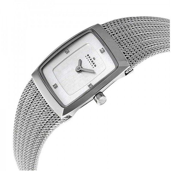 Pre-owned Skagen 380XSSS1 Trine Chrome Dial Stainless Steel Mesh... ($109) ❤ liked on Polyvore featuring jewelry, watches, skagen wrist watch, stainless steel watches, dial watches, stainless steel jewelry and mesh watches
