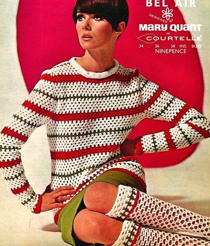 Vintage Crochet Pattern 1960s Fab Mod Mary Quant Crochet Long Knee Socks Top   eBay
