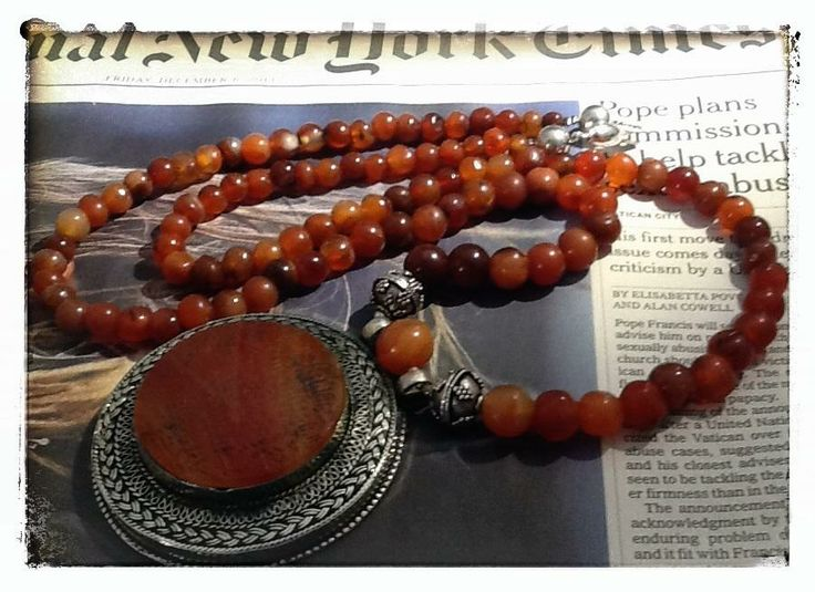 necklace - #carnelian beads + old #islamic pendant