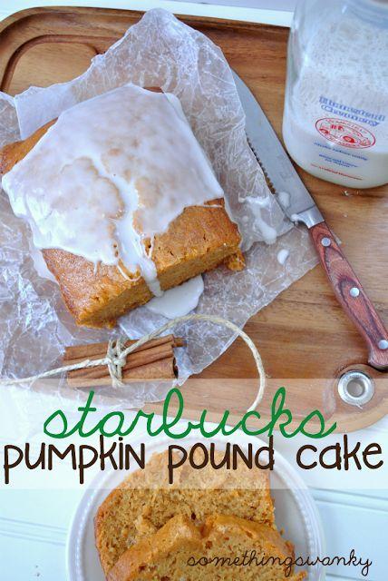 Starbucks Pumpkin Pound Cake - Something Swanky 1 1/2 c. All Purpose Flour 1/2 tsp. Ground Cinnamon 1/2 tsp. Salt 1/2 tsp. Baking Soda 1/2 tsp. Baking Powder 1/4 tsp. Ground Cloves 1/4 tsp. Ground Nutmeg 1 1/2 c. Sugar 1/2 c. Fat Free VanillaYogurt 3 Egg Whites 1 c. Canned Pumpkin