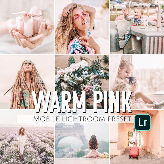 Mobile Lightroom Preset / Warm Pink Pastel Mobile Preset