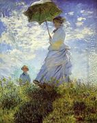 The Walk Woman With A Parasol by Claude Oscar Monet