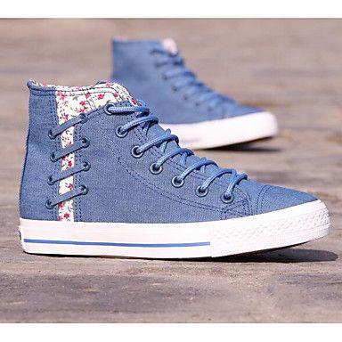 Mujer+Zapatillas+de+deporte+Confort+Tela+Primavera+Casual+Confort+Azul+Marino+Azul+Claro+Plano+–+ARS+$+12.485,98