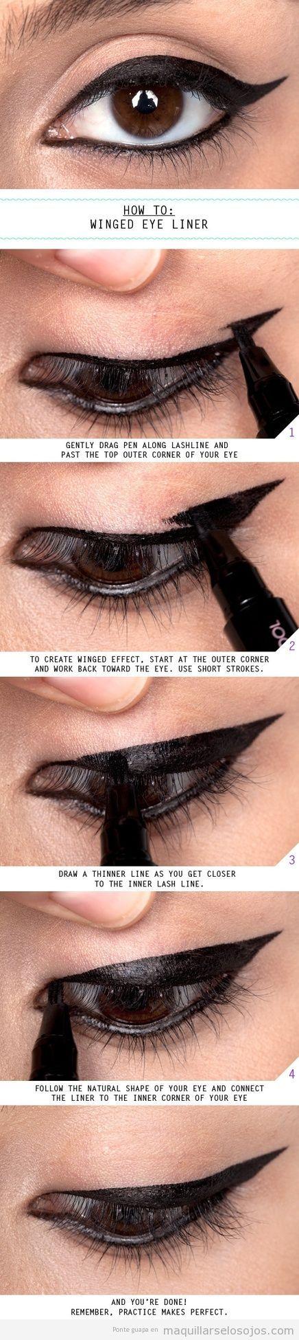Tutorial maquillaje de ojos estilo cat eye con eyeliner rotulador