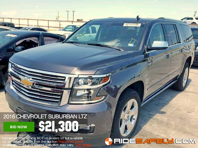 You Might Also Like: CHEVROLET SUBURBAN, CAMARO, TAHOE & more available for bidding. Join Today! http://www.ridesafely.com/en/salvage-auto-auction-search/chevrolet