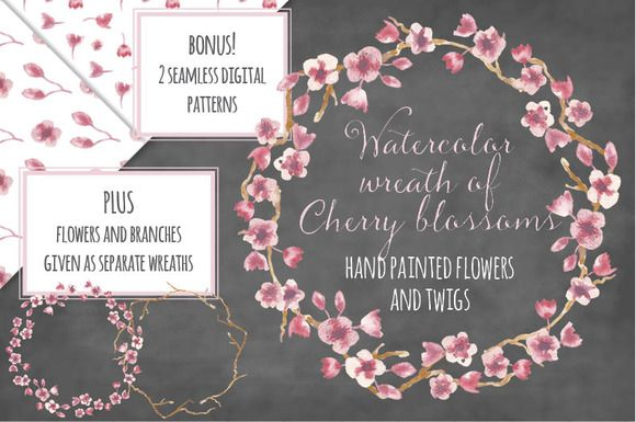 Watercolor wreath: Cherry blossoms by Lolly's Lane Shoppe on Creative Market