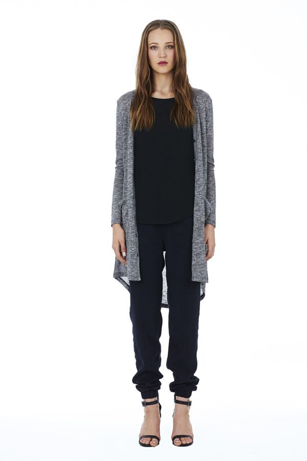 Bling Ring Top in Black under Conclusion Cardigan in Charcoal with Roadtrip Pant in Black