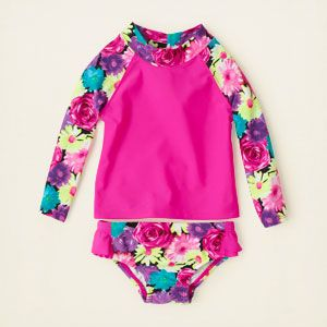 baby girl - swimwear - floral long-sleeved rashguard swimsuit | Children's Clothing | Kids Clothes | The Children's Place