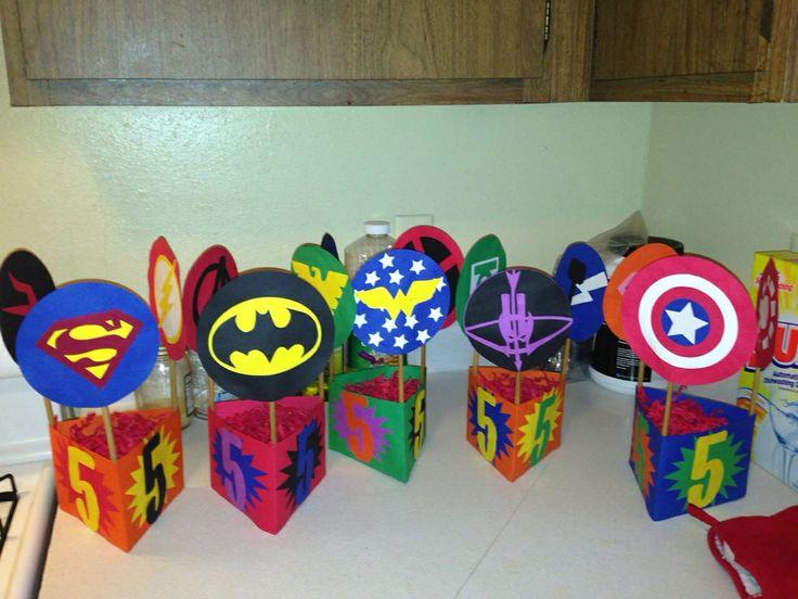 Superhero theme party table center pieces