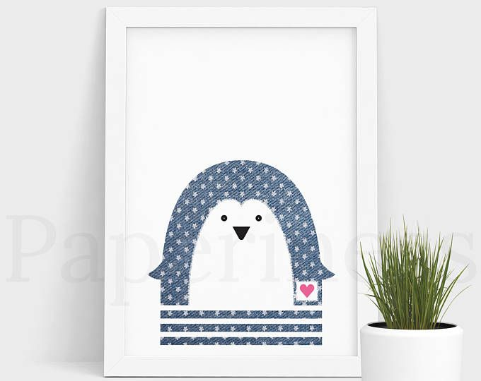 Penguin Print, Baby Animal, Denim With Flowers, Large Printable Poster, Digital Download, Nursery Art, Nursery Wall Art, Baby Room Art