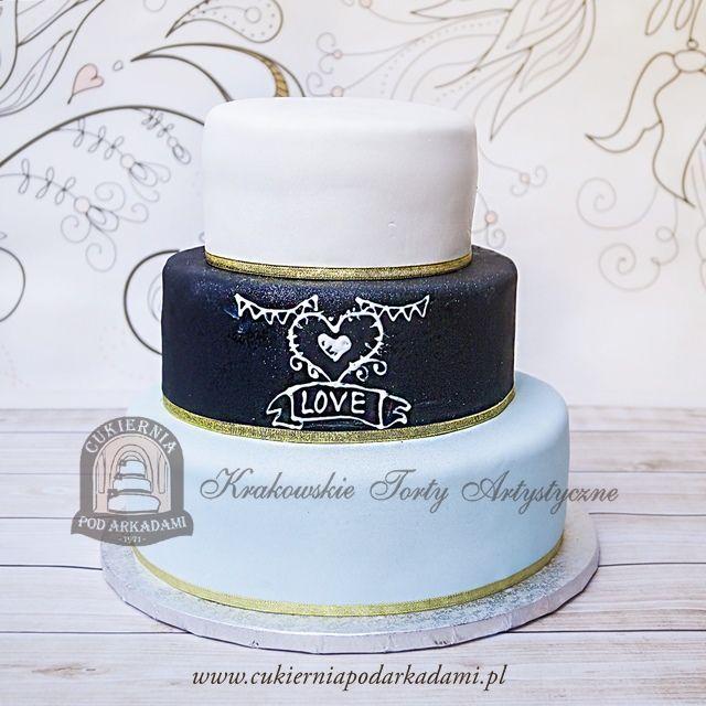 17BW Tort biało-czarno-miętowy z lukrowanym napisem i złotą wstążką. Multi-tier white-black&mint wedding cake.