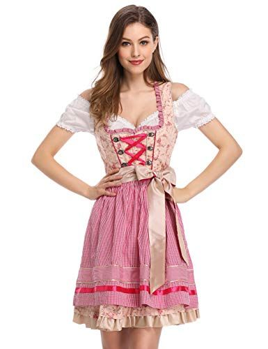 KUULEE Vestido Dirndl Disfraz de Bávara para Oktoberfest Festival de  Cerveza Alemana aa3818c1632