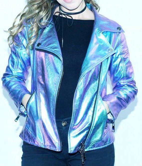 3683cef62018 Holographic Jacket, Holographic Biker Jacket, Festival Jacket, Iridescent  Jacket, Burning Man, Deser