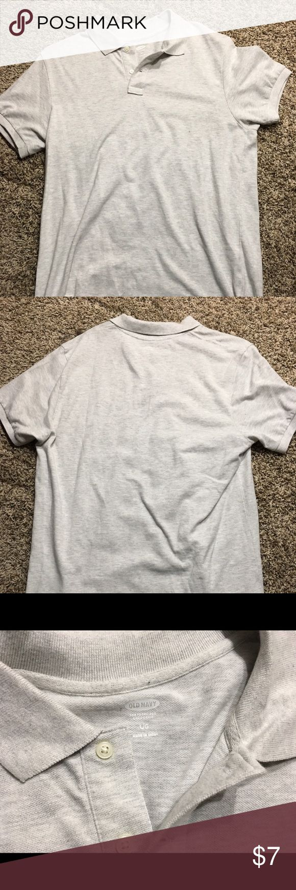 Men's Old Navy Light Grey Polo Shirt Large Old Navy polo shirt from 2015, only worn once and in great condition! Old Navy Shirts Polos