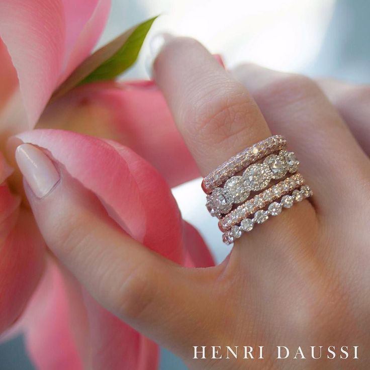 I'm more ME when I am with YOU!! #jewelry #jewellery #engaged #love #flowers #peony - Henri Daussi Engagement Ring and Wedding Band - Diamond Engagement Ring and Wedding Bands