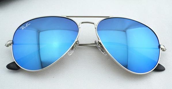 Солнцезащитные очки Ray Ban Aviator (синие, серебряная оправа)