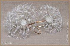 free photo tutorial, dandelion seed headband from silk ribbon
