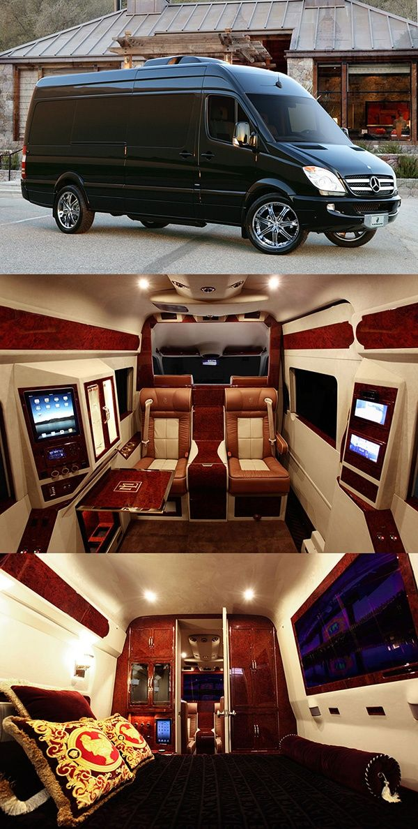 Mercedes Sprinter Van customized to Include a full luxury bedroom suited to any Baller with an interior that looks like Versace's love pad. #Luxury Cars