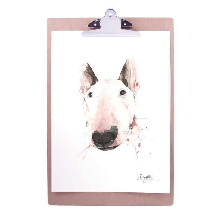 """""""Bullterrier"""" (Bull terrier) Copyright: Emmeselle.no Illustration by Mona Stenseth Larsen"""
