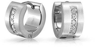 Bling Jewelry Pave Clear Cz 316l Stainless Steel Wide Huggie Hoop Earrings.