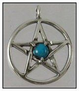 Sterling Silver Pentacle Pendant - Turquoise Gem | The Magickal Cat Pagan/Wiccan Shop