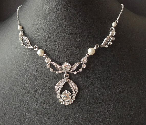 Art Deco Style Bridal Necklace & Earrings SET by luxedeluxe, $88.00