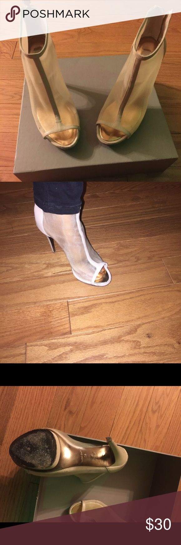 Sheer Boots Sheer Mesh/Nappa Nude Ankle Boot trimmed in leather.  Style name: Ma-Gamma.  Slightly worn with a few scratches on the leather but not noticeable. Zip up in the back with gold zipper. BCBGMaxAzria Shoes Ankle Boots & Booties