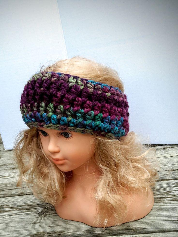 Bandeau crochet, cache-oreilles laine pour femme, cache-oreilles mauve et turquoise,  bandeau chaud, cache-oreilles mode de la boutique Agadoux sur Etsy