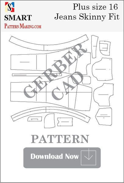 Gerber/CAD Plus Size Skinny Fit Jeans Sewing Pattern
