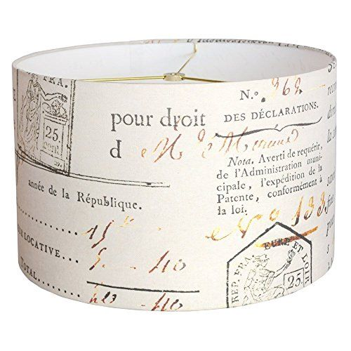 "Ivory French Script Document Linen Cotton Drum Lamp Shade - Made to Order - Sizes 10"" - 18"" Diameter."