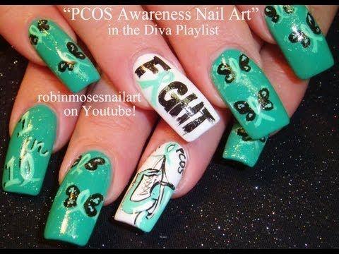 Nail Art PCOS Awareness Nails