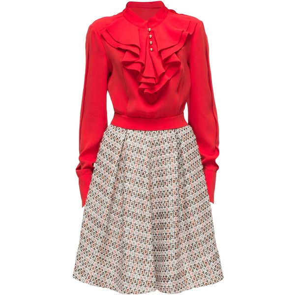 LATTORI Marilyn, Ruffle Collared Shirt Dress ($459) ❤ liked on Polyvore featuring dresses, glitter dress, frilly dress, flutter dress, red shirt dress and red ruffle dress