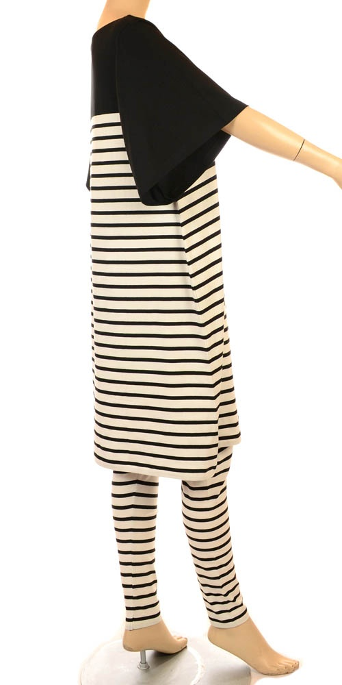 Hebbeding Summer 2013 Black & White Stripe Artwork Tunic/Dress-Hebbeding, lagenlook, womens plus size UK clothing, ladies plus size lagenlook fashion clothing, plus size coats, plus size dresses, plus size jackets, plus size trousers, plus size skirts, plus size petticoats, plus size blouses, plus size shirts, plus size tops, plus size tunics, lagenlook plus size fashion clothing
