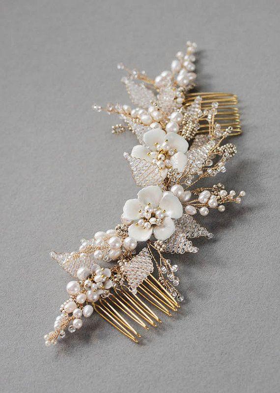 JASMINE Floral Wedding Hair Comb от percyhandmade на Etsy