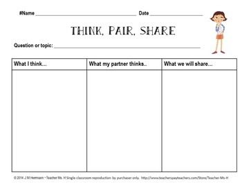 FREE Think, Pair, Share Graphic Organizer ~ Follower FREEBIEJust wanted to share this awesome graphic organizer that I made to help my students with the new Speaking and Listening Anchor standards under Common Core, specifically having discussions, while tying in the Writing Anchor Standards.
