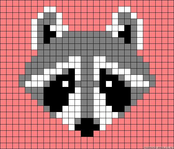Racoon perler bead pattern