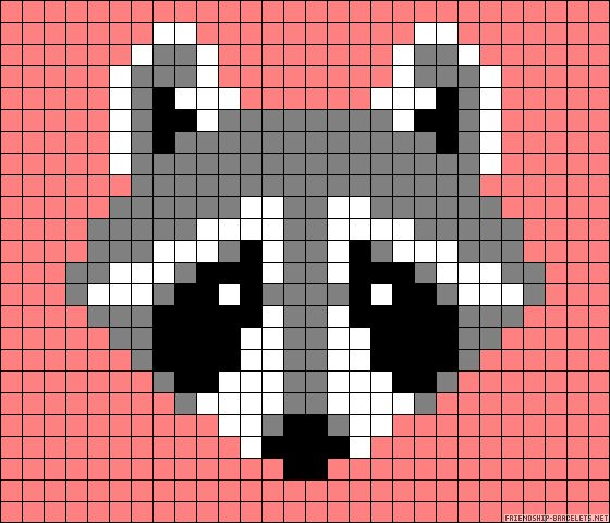 Raccoon perler bead pattern