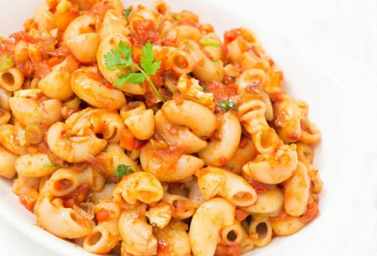 Vegetable Macaroni This Indian style Macaroni dish not only tastes delicious but is also quick & easy to make.
