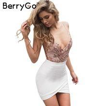 BerryGo Sexy bodysuit Mulheres decote em v profundo malha renda preta do bordado do sequin top Outono festa à noite backless jumpsuit romper alishoppbrasil